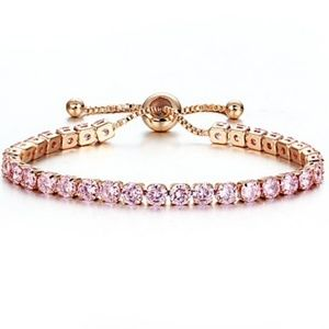 Jewelry - NEW pink crystal tennis net adjustable bracelet